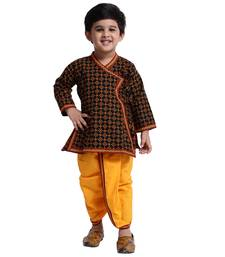 Black Printed Cotton Boys Dhoti Kurta
