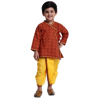Red printed cotton boys-dhoti-kurta