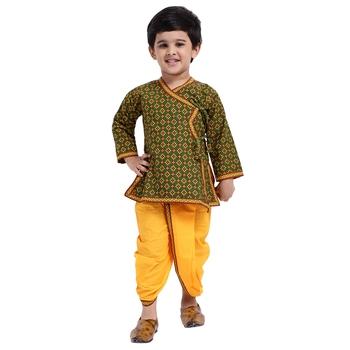 Green printed cotton boys-dhoti-kurta