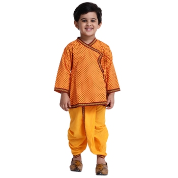 Yellow printed cotton boys-dhoti-kurta
