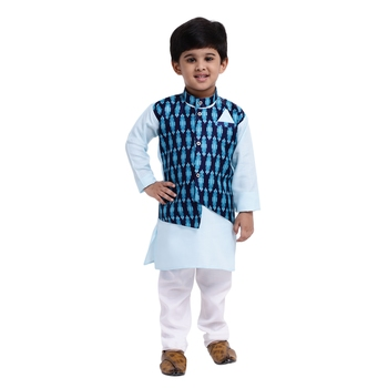 Blue Plain Cotton Boys Kurta Pyjama