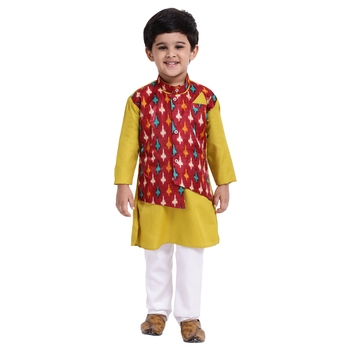 Green Plain Cotton Boys Kurta Pyjama