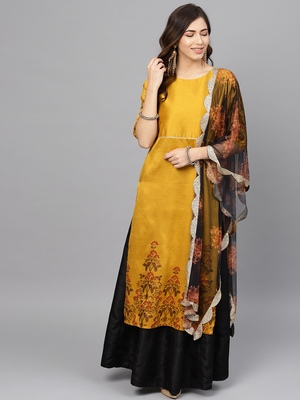 Mustard printed art silk salwar