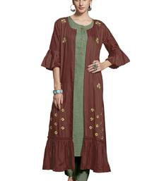 Women'S Rust Embroidered Crepe Layer Kurti