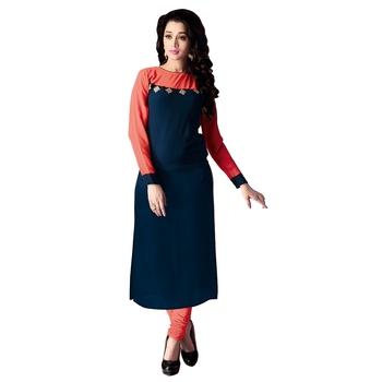 Women'S Blue Printed Georgette Ethnic Kurti