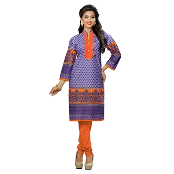 Women'S Multicolor Printed Cotton Ethnic Kurti