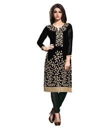 Women'S Black Embroidered Georgette Ethnic Kurti
