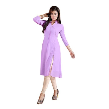 Women'S Light-Purple Printed Georgette Ethnic Kurti