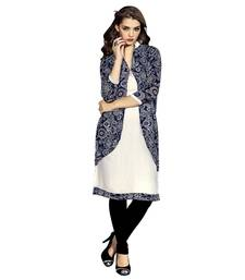 Women'S Blue Printed Georgette Ethnic Kurti