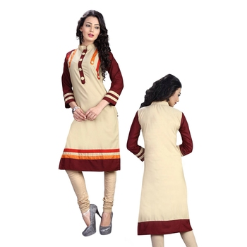 Women'S Beige Printed Cotton Ethnic Kurti