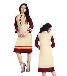Women'S Beige Printed Cotton Ethnic Kurti