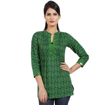 Women'S Green Printed Cotton Ethnic Kurti