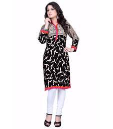Women'S Black Printed Cotton Ethnic Kurti