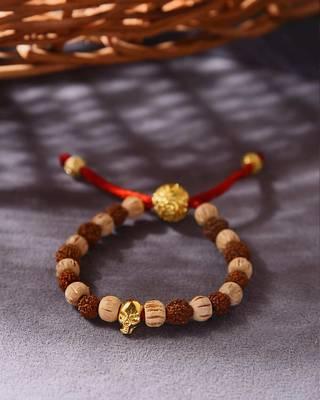 Gold-Plated OM Bead Mahadev Rudraksha Bracelet