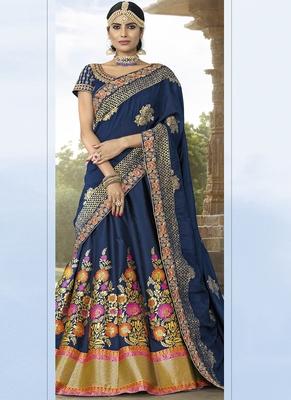 Blue Banarsi Jacquard Wedding Wear A Line Lehenga Choli