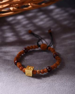 OM Engraved Golden Cube Mahadev Beaded Bracelet