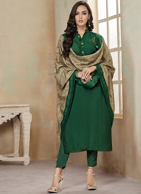 Green Embroidered Cotton Stitched Salwar With Dupatta