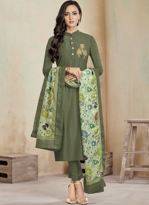 Olive Embroidered Cotton Stitched Salwar With Dupatta