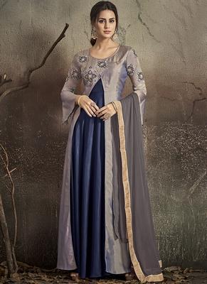 grey embroidered silk blend stitched salwar with dupatta