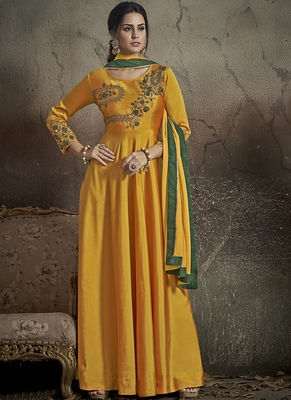 yellow embroidered silk blend stitched salwar with dupatta