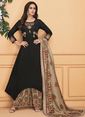 Black Embroidered Silk Blend Stitched Salwar With Dupatta
