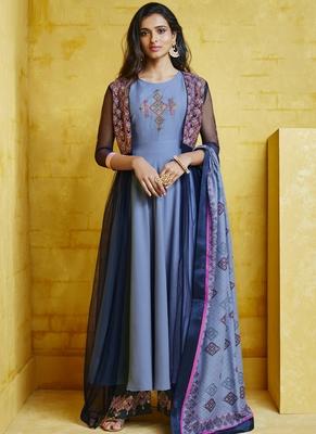 Violet Embroidered Silk Blend Stitched Salwar With Dupatta