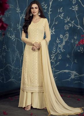 Cream Embroidered Georgette Stitched Salwar With Dupatta