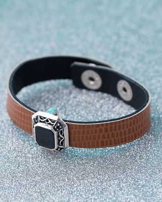 Snake-Like Leather Milestone Bracelet