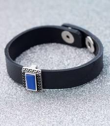 Milestone Rectangular Charm Leather Bracelet