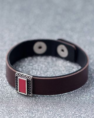 Broad Brown Leather Band Milestone Bracelet