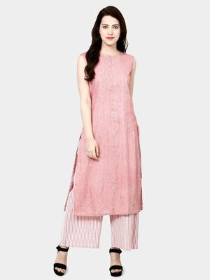 pink plain cotton kurta set