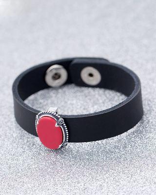 Red & Black Milestone Leather Bracelet