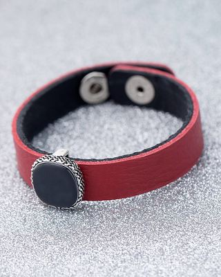 Milestone Oxidized Silver Plated Red Leather Bracelet