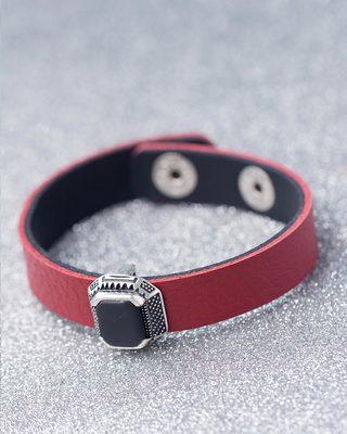 Black Stone Studded Milestone Leather Bracelet