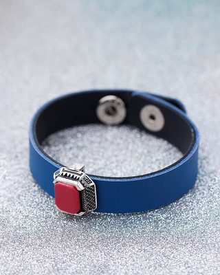 Blue & Red Milestone Leather Bracelet