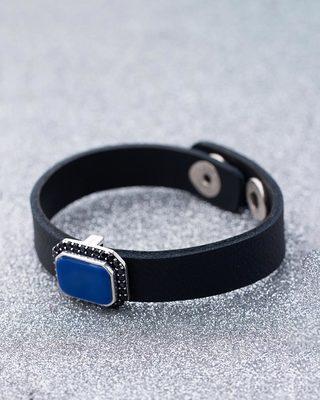 Black CZ Studded Milestone Leather Bracelet
