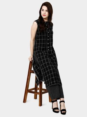black plain cotton DESIGNER PLAZA-KURTIS