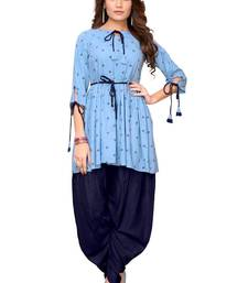 blue plain cotton DESIGNER PLAZA-KURTIS