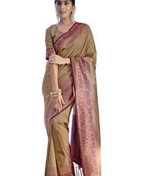 Gold Colour Tanchui Art Silk Party Wear Saree With Unstitched Blouse Piece
