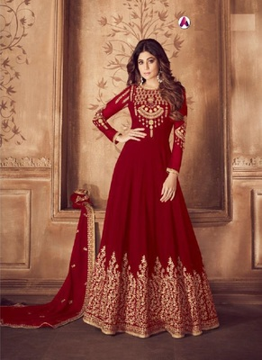 Maroon diamond work faux georgette salwar