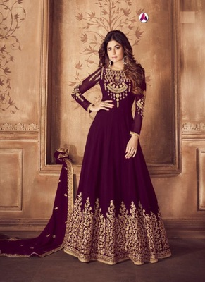 Purple diamond work faux georgette salwar