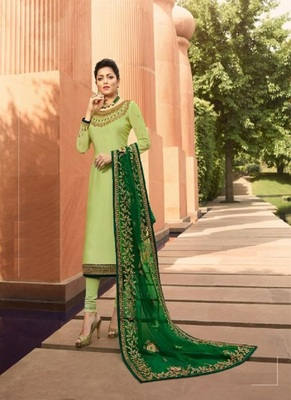 Parrot-green multi head work satin salwar