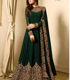 Dark Green embroidered georgette anarkali