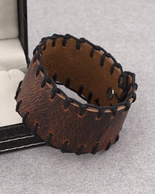 Leather Trend Wrap Bracelet with Stitch Design