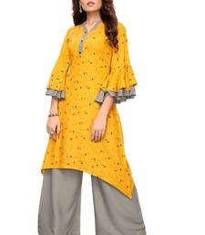 yellow cotton DESIGNER PLAZA-KURTIS