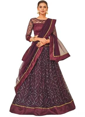 Purple Fancy  Net Unstitched Lehenga