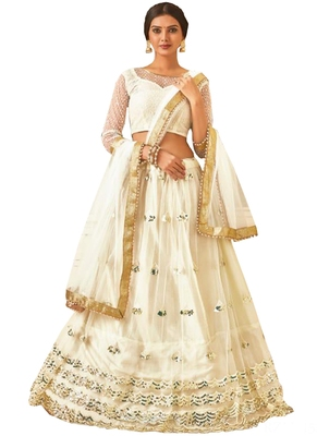 White Fancy  Net Unstitched Lehenga