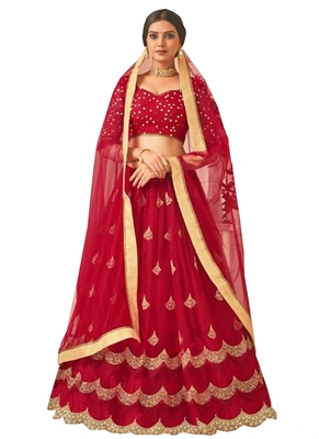 Red Fancy  Net Unstitched Lehenga