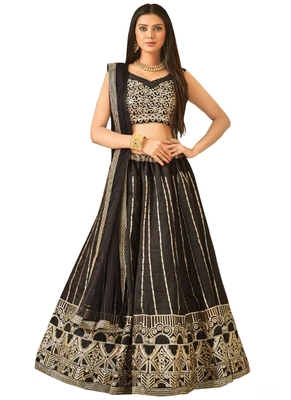 Black Fancy  Silk Unstitched Lehenga