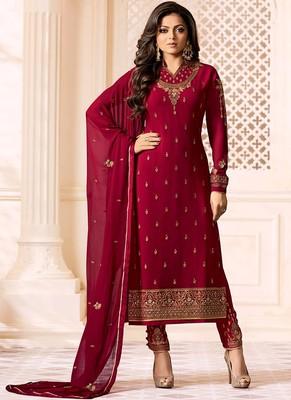 red embroidered georgette salwar